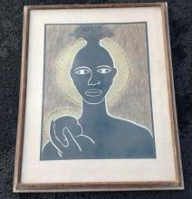 CALMON GINSBERG MID CENTURY PASTEL BLACK FIGURE HOLDING A BABY, IN QUALITY PERIOD FRAME AND MATTING. PAINTNG MEASURES 26