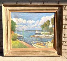 CALMON GINSBERG O/C SEASCAPE W/BOAT DOCKED, BRIDGE IN BACKGROUND, POSSIBLY FLORIDA, CIRCA 1950'S, IN PERIOD FRAME, PAINTING MEAUSRES 24