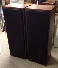 PR OF GENESIS 3 VINTAGE SPEAKERS, NICE OVERALL ESTATE CONDITION, SOME LIGHT STAINS, SERIAL #1009, MEASURE 38