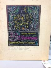JOHN PIKE SIGNED 5TH ANNIVERSARY WOODSTOCK SOCIETY OF CHAMBERS BOOKLET COVER, MEASURES 10