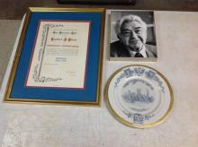 HERBERT BLOCH LOT- WAS A RENOWN STAMP COLLECTOR AND APPRAISER, INCLUDES A PLATE- ON BACK TO HERBERT BLOCH IN APPRECIATION FOR SERVICES CENTENARY INTERNATIONAL PHILATELIC EXHIBITION NEW YORK NY, MAY 17-25, 1947; PICTURE & CERTIFICATE INTO COLLECTOR CLUB, AS PICTURED