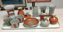 14 PCS ROYAL COPENHAGEN CRACKLE GLAZE FROM LOCAL ESTATE, VERY GOOD OVERALL CONDITION, AS PICTURED