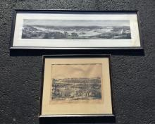 2 EARLY CINCINNATI PRINTS INCL. CHAS P ULRICH PANORAMIC TITLED CINCINNATI USA, COPYRIGHT 1900, HAS OLD WATER STAINS IN UPPER & LOWER RIGHT CORNERS, NOT IN PRINT. MEASURES 13 1/2