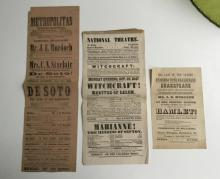 (3) EARLY THEATRE BROADSIDES INCL. WITCHCRAFT & HAMLET, FROM AN ESTATE BOX OF EPHEMERA WE JUST GOT. THE HAMLET BROADSIDE IS DATED MAY 19TH, 1845, THE PLAY  WITCHCRAFT IS DATED OCT. 25, 1847, AND THE PLAY DESOTO IS DATED JULY 11, 1854 ( THIS IS FRONT AND BACK), NICE OVERALL CONDITION.