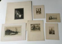 5 EARLY SIGNED PRINTS FROM ESTATE INCL STEPHEN PARRISH, SOME SIGNED ILLEGIBLY. ESTATE WAS IN CINCINNATI, LOOKS LIKE CARLOS J. MARLOTTO, STEPHEN PARRISH, EDGAR CL???? AND OTHERS SIGNED ILLEGIBLY, NICE CONDITION, THE PARRISH IS ON A THIN TISSUE LIKE PAPER....