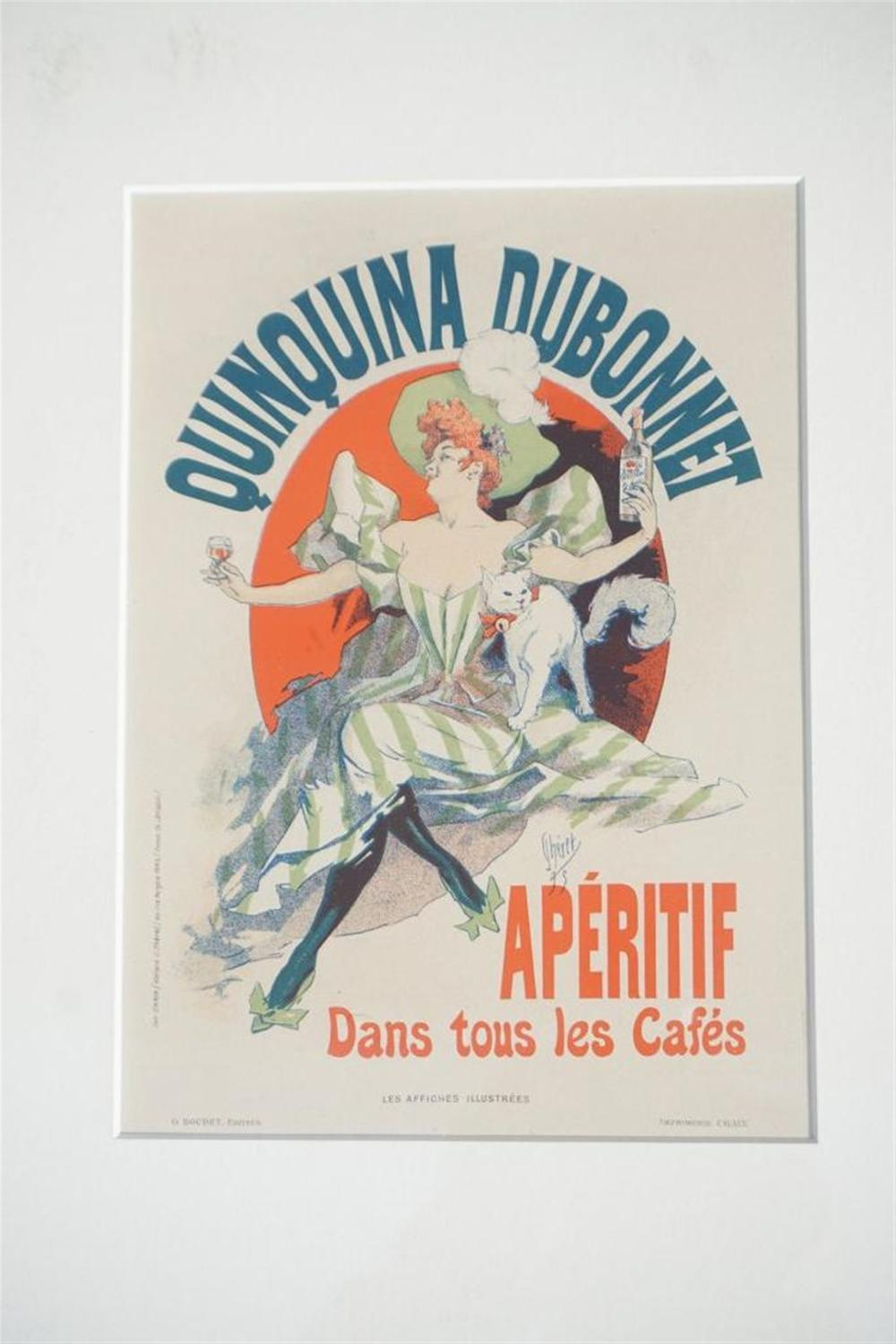 "1896 CHERET QUINQUINA DUBONNET PARIS STONE LITHO POSTER, SHEET SIZE 8 3/4"" X 12 1/4"", EXCELLENT CONDITION, SHRINK WRAPPED AND MATTED, FROM RETIRED DEALERS COLLECTION, IMPRIMERIE CHAIX."