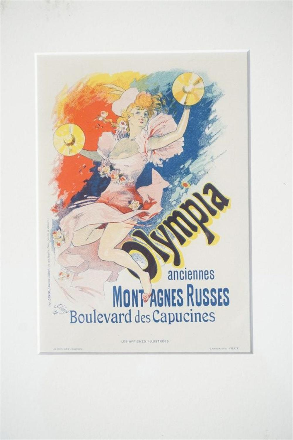 "1896 CHERET OLYMPIA ANCIENNES MONTAGNES RUSSES STONE LITHO FRENCH POSTER, SHEET SIZE 8 3/4"" X 12 1/4"", EXCELLENT CONDITION, SHRINK WRAPPED AND MATTED, FROM RETIRED DEALERS COLLECTION. IMPRIMERIE CHAIX."