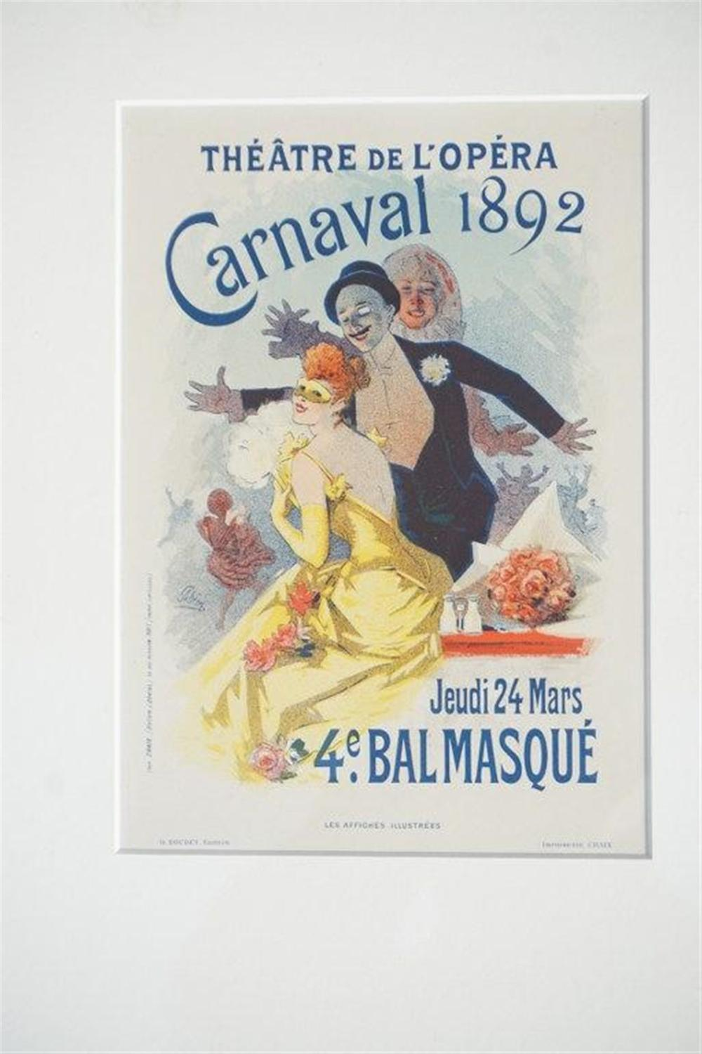 "1896 CHERET THEATRE DE L' OPERA CARNAVAL 1892 STONE LITHO FRENCH POSTER, SHEET SIZE 8 3/4"" X 12 1/4"", EXCELLENT CONDITION, SHRINK WRAPPED AND MATTED, FROM RETIRED DEALERS COLLECTION. IMPRIMERIE CHAIX."