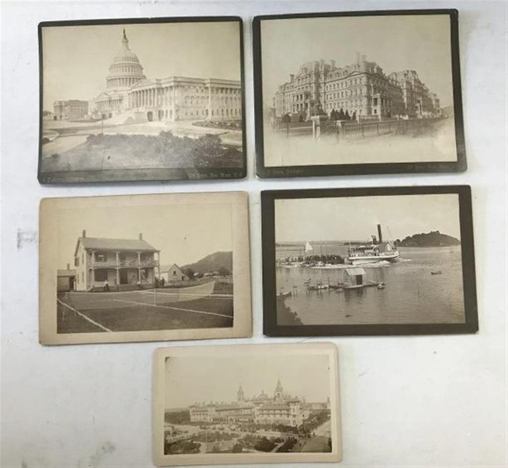 "LOT OF 5 PHOTOGRAPHS INCLUDING 6 3/4"" X 9 3/4"" PHOTOGRAPHY BY MARVIN, KEESEVILLE, NY OF A HOME WITH A TENNIS COURT SET UP ON LAWN, PEOPLE WITH TENNIS RACQUETS; 5 1/4"" X 8 1/2"" PHOTOGRAPH BY HAVENS OF A LARGE HOTEL IN JACKSONVILLE, FL; PHOTOGRAPH OF"