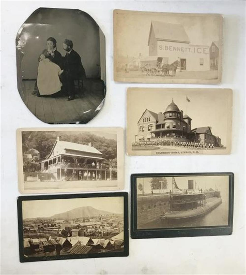 LOT OF 5 BOUDOIR CARD PHOTOS AND 1 LARGE TINTYPE, POSSIBLY A POST MORTEM. INCLUDING PHOTO BY W.J. BELL, LANDSCAPE AND PORTRAIT PHOTOGRAPHER, THE LEADING CITY ARTIST, SAULT STE MARIE, MICH. OF THE SHIP CHARLES W. WETMORE OF BUFFALO; IMAGE BY HARDIE