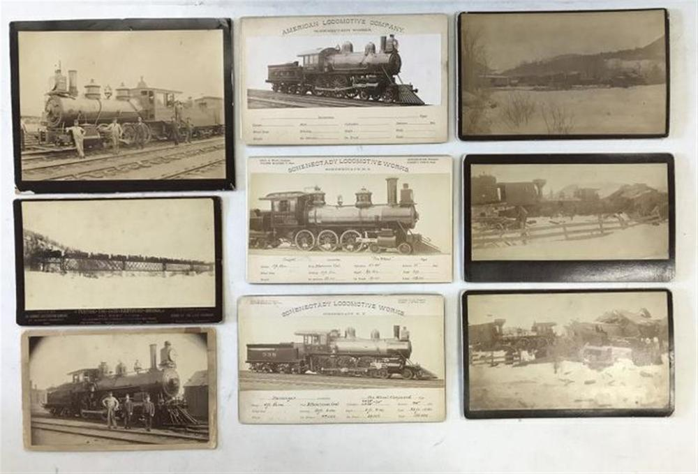 "LOT OF 9 PHOTOGRAPHS OF TRAINS AND TRAIN WRECKS INCLUDING STEAM ENGINE AND TENDER WITH MEN POSED BY IT. ON BACK IS WRITTEN ""TAKEN AT LONG WHARG CROSSING TRACK #25, NEW HAVEN CONN. JULY 1892""; BOUDOIR CARD PHOTO 5 1/4""X 8 1/2"" BY C.E.LEWIS, LEBANON,"