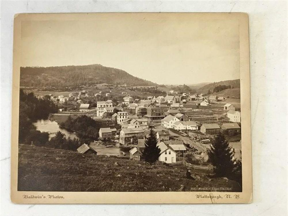 "FINE 8"" X 10"" PHOTOGRAPH OF SARANAC LAKE VILLAGE FROM THE 1880'S BY BALDWIN, PLATTSBURGH, NY, AS PICTURED"