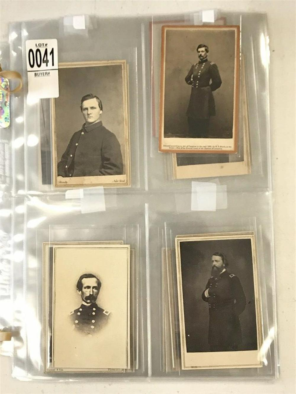 LOT OF 22 CDV'S OF CIVIL WAR SOLDIERS. PHOTOGRAPHERS ARE BRADY, ANTHONY, GURNEY. INCLUDES MCCLELLAN, THOMAS WOOD(WIA MURFREESBORO), JOHN POPE, HALLECK, BURNSIDE, JOHN DIX(NY DRAFT RIOTS), JOHN MARTINDALE, COMMANDER MONTGOMERY, QUINCY GILLMORE, CAPT.
