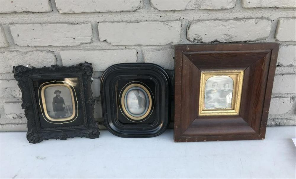 2 DAGUERREOTYPES & 1 AMBROTYPE IN ATTRACTIVE WALL FRAMES, ALL 3 QUARTER PLATES, AS PICTURED