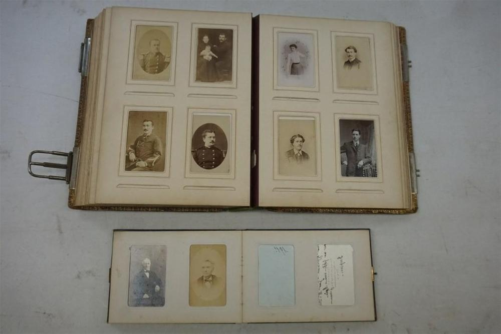 2 CDV/CABINET CARD ALBUMS. FRENCH, ONCE BELONGING TO M. LECHEVALIER. CONTAINING 111 CDVS AND 12 CABINET CARDS BY NOTED PARISIAN PHOTOGRAPHERS. A NUMBER OF MILITARY IMAGES ARE INCLUDED. AS PICTURED