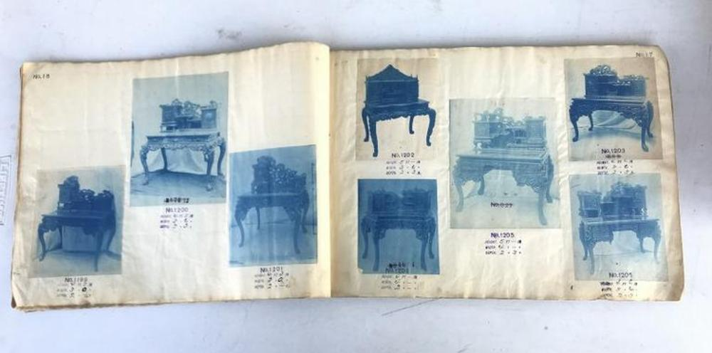 ERARLY ASIAN FURNITURE TRADE CATALOG WITH CYANOTYPE PHOTOGRAPHS THROUGOUT. THE FRONT AND BACK COVERS ARE MISSING, SO I DON'T KNOW THE MAKER OR IMPORTER, CAME FROM OLD TIME ARTIST'S ESTATE, WHO TRAVELLED WORLD WIDE, AND SPENT A LOT OF TIME IN THE