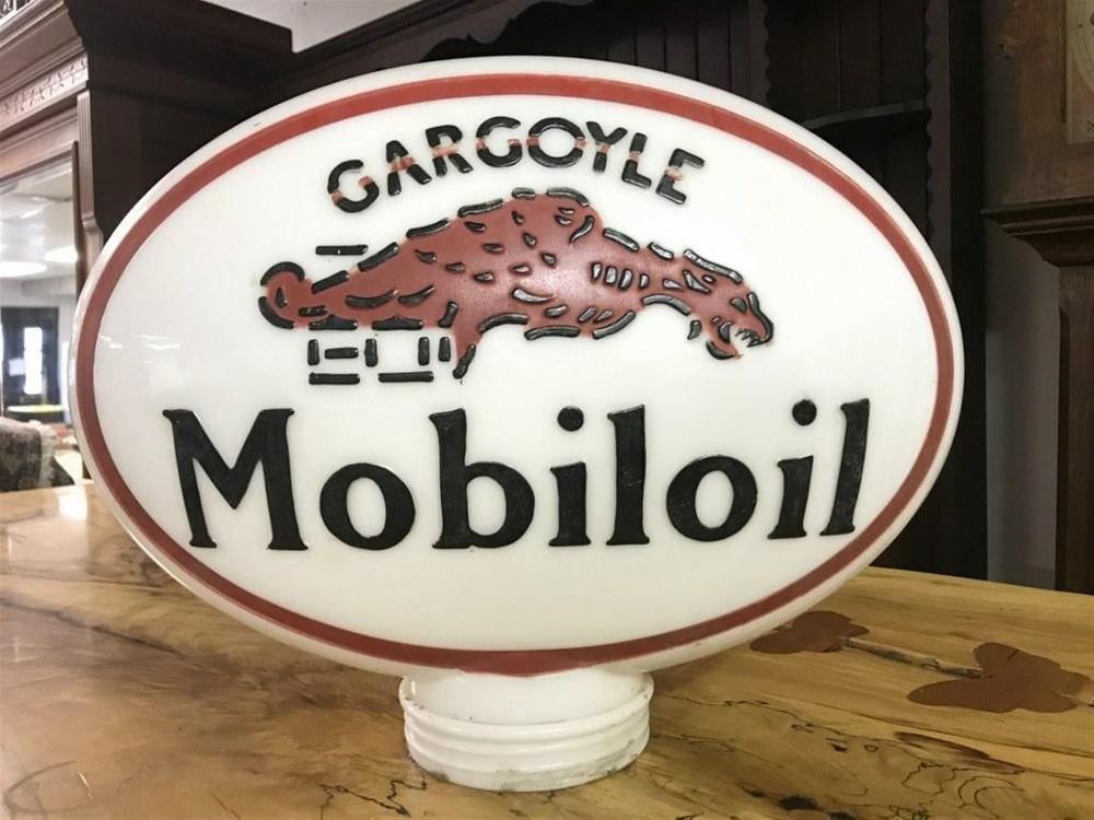 "OLD GARGOYLE MOBILOIL GAS PUMP GLOBE, DOUBLE SIDED, WITH RAISED LETTERS. I SEE NO DAMAGE, MEASURES 14"" HIGH AND 17 1/2"" ACROSS. FROM HUDSON VALLEY ESTATE."