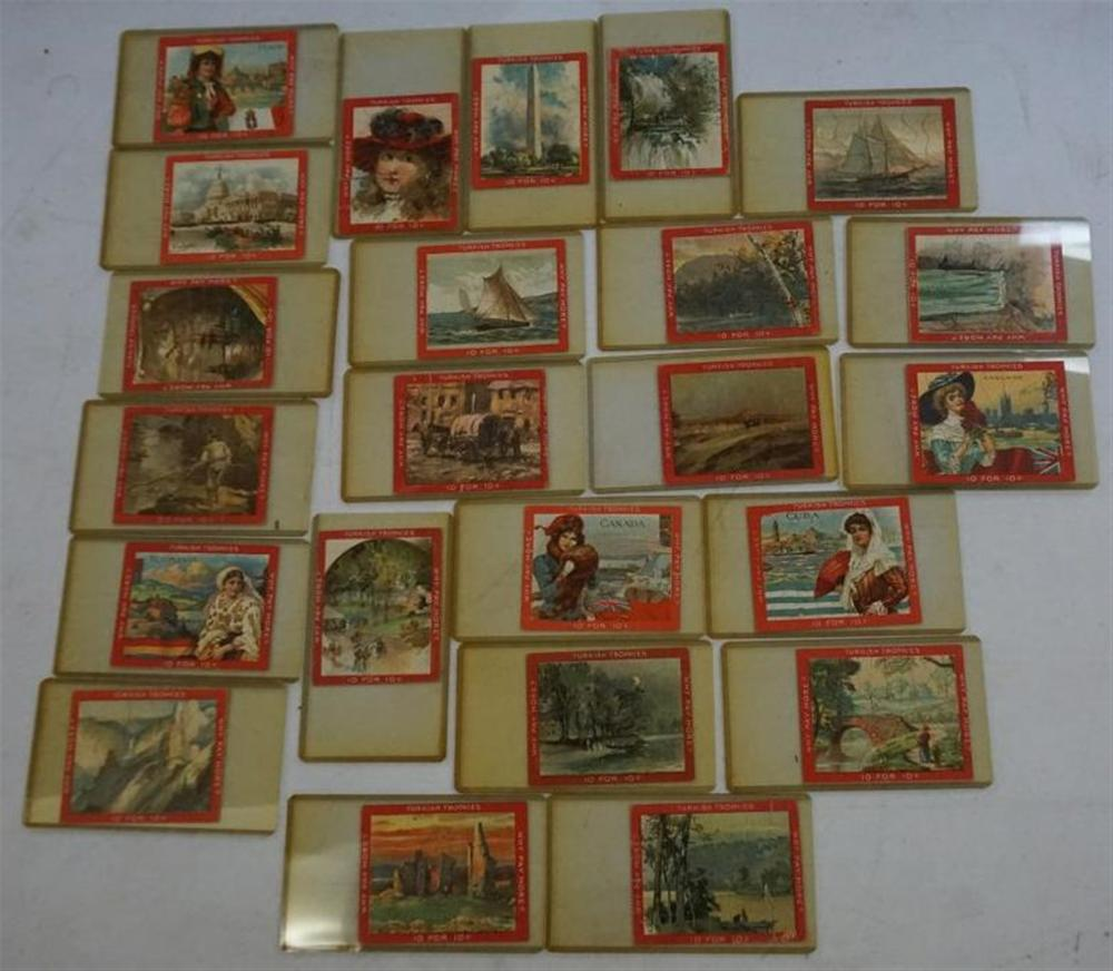 23 TURKISH TROPHIES TOBACCO CARD PUZZLES, ALL IN VERY NICE CONDITION, GOOD VARIETY.