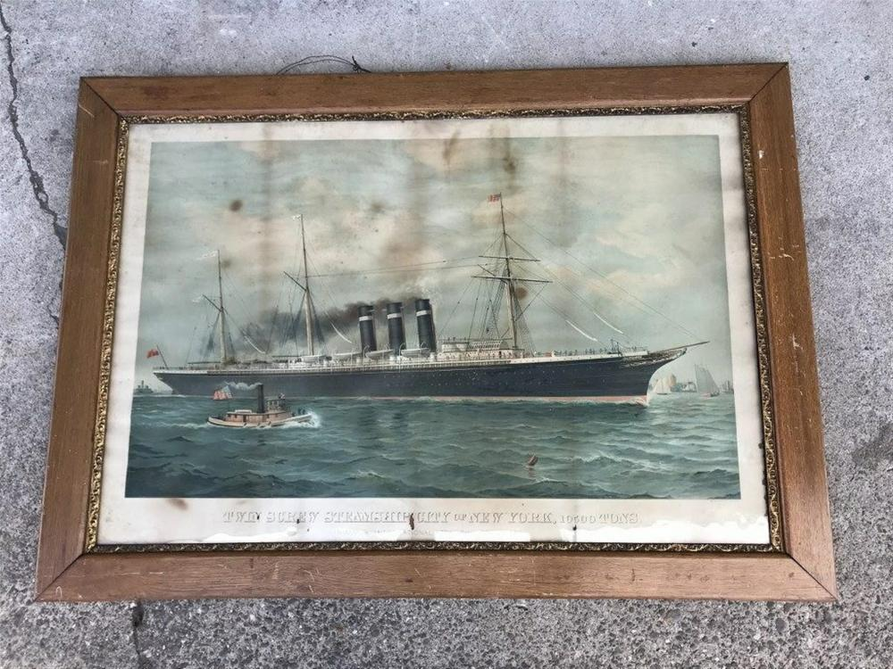 "TWIN SCREW STEAMSHIP CITY OF NEW YORK 10500 TONS EARLY FRAMED PRINT, IN ORIGINAL OAK FRAME, HAS SOME FOXING AND SMALL TEARS, FRAME MEASURES 34 1/2"" X 48"".  INMAN & INTERNATIONAL STEAMSHIP COMPANY LIMITED, LITHOGRAPHER IS MAJOR, KNAPP & CO. NEW YORK."