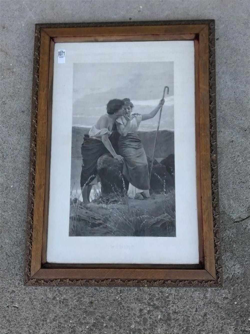 "VICTORIAN PRINT TITLED WOOING IN ORIGINAL OAK FRAME, LONDON 1884,  FRAME MEASURES 34"" X 24"".  FROM LOCAL KINGSTON, N.Y. ESTATE."