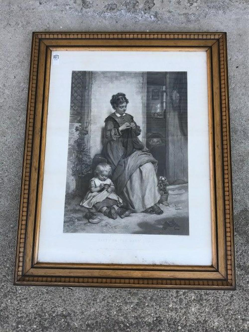 "VICTORIAN LARGE PRINT HAPPY AS THE DAYS LONG, IN PERIOD OAK FRAME, FRAME MEASURES 40"" X 31"",  ENGRAVED BY W H SIMMONS, LONDON, PUBLISHED 1876."