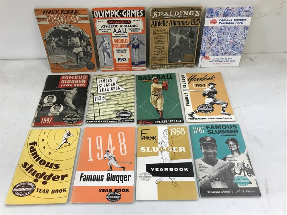 (12) OLDER BASEBALL BOOKLETS & OTHER SPORTS RELATED, AS PICTURED, 1920'S TO 76??ONLY ONE FROM 1970'S ALL OTHERS EARLY?.GREAT COVERS?..