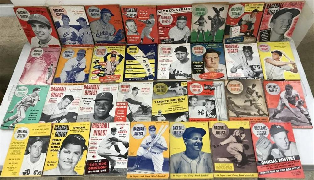 (31) BASEBALL DIGEST MAGAZINES, MOSTY 1940'S & 50'S, MANY HOF PLAYERS ON COVERS, A FEW BACKS HAVE SQUARES CUT OUT OF THEM, OVERALL NICE FOUND ESTATE CONDITION.