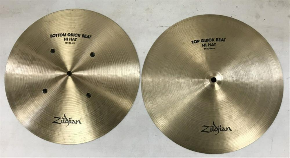 "ZILDJIAN QUICK BEAT HI HAT PAIR  14"", FROM LOCAL ESTATE, WITH OTHER CYMBALS WE ARE SELLING, IN NICE ESTATE FOUND CONDITION. STAMPED MADE IN USA?."