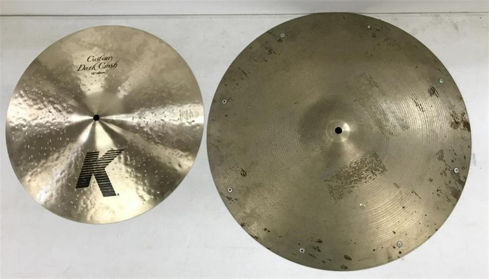 "(2) ZILDJIAN CYMBALS FROM LOCAL ESTATE, INCLUDES CUSTOM DARK CRASH 16"" STAMPED MARKED MADE IN USA & HEAVY 20"" ZILDJIAN WITH STUDS, STAMP MARKED ALSO MADE IN USA."