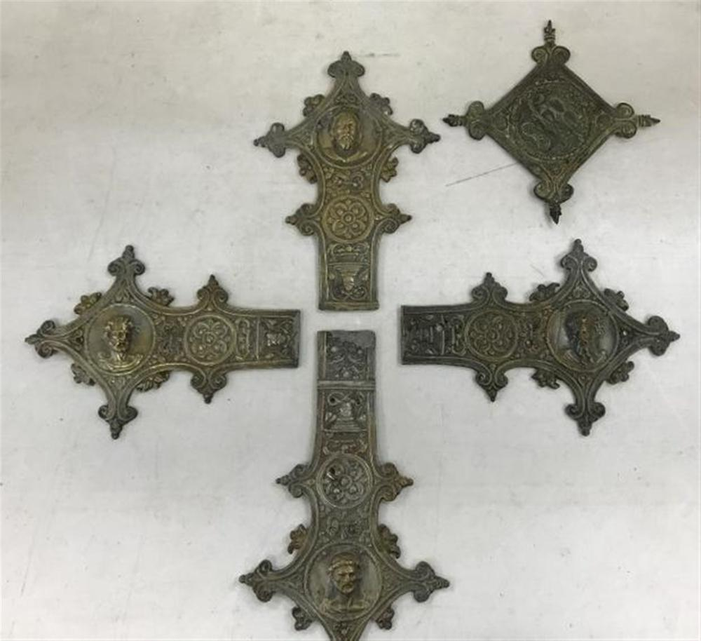 "EARLY CAST BRONZE CROSS IN PIECES AS PICTURED,  FROM A HUDSON VALLEY MONESTARY, PIECES MEASURE 7 1/2"" TO 8 1/2""?.ACCOMPANIED BY LETTER REGARDING IT?"