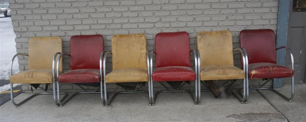 (6) ART DECO CHROME ARMCHAIRS, MATCHING, FROM KINGSTON NY ESTATE, IN AS FOUND CONDITION, ALL SOLID, SOME WEAR TO CHROME, AND OLD UPHOLSTERY, SOME SPRINGS LOOSE UNDERNEATH, PROBABLY MADE BY HELENE CURTIS.