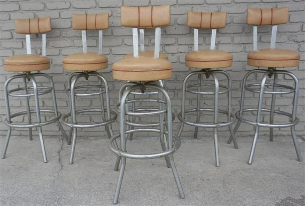 "(6) CHROME HELENE CURTIS ART DECO BARSTOOLS, IN ORIGINAL ESTATE FOUND CONDITION, IN KINGSTON, N.Y., SAME HOUSE AS OTHER SIMILAR ITEMS CAME FROM, NICE SOLID CONDITION, ALWAYS TAKEN CARE OF. MEASURE 42"" HIGH."