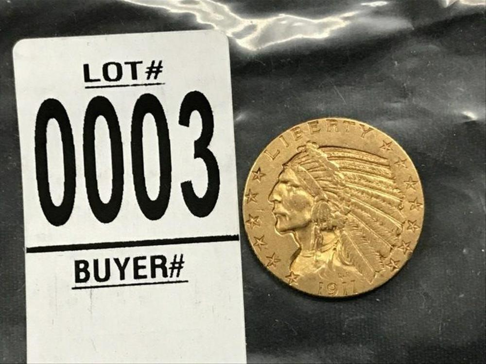 1911 $5 INDIAN GOLD COIN, XF CONDITION