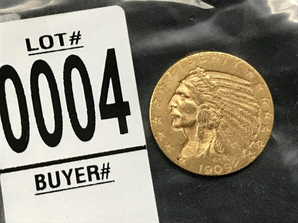 1909 $5 INDIAN GOLD COIN, AU CONDITION