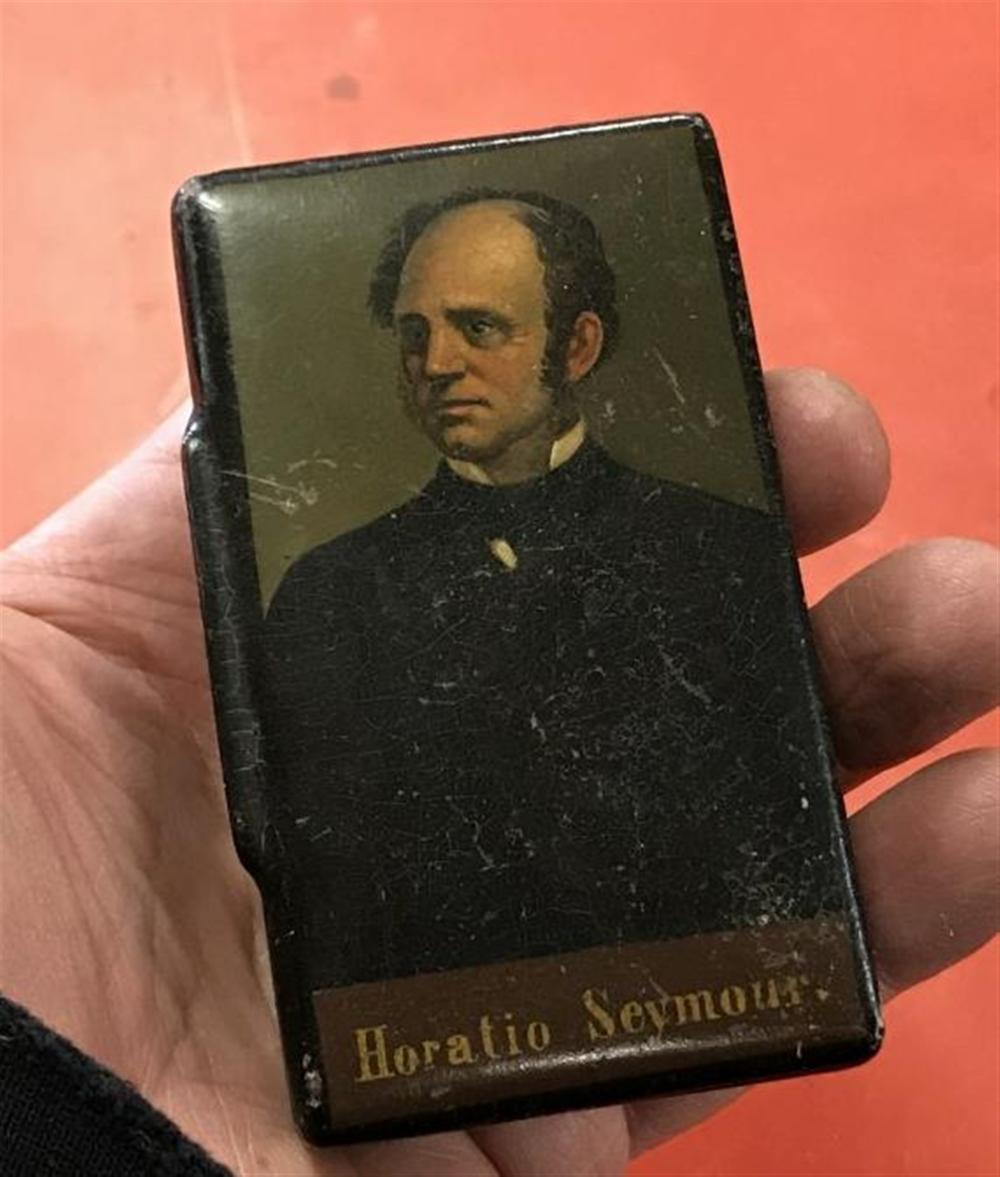 "HORATIO SEYMOUR VERY RARE RECTANGULAR SNUFF BOX WITH HINGED LID, VERY NICE CONDITION, A FEW SCUFFS, AS PICTURED, MEASURES 2 1/4"" X 3 1/4"" X 1"", VERY RARE"