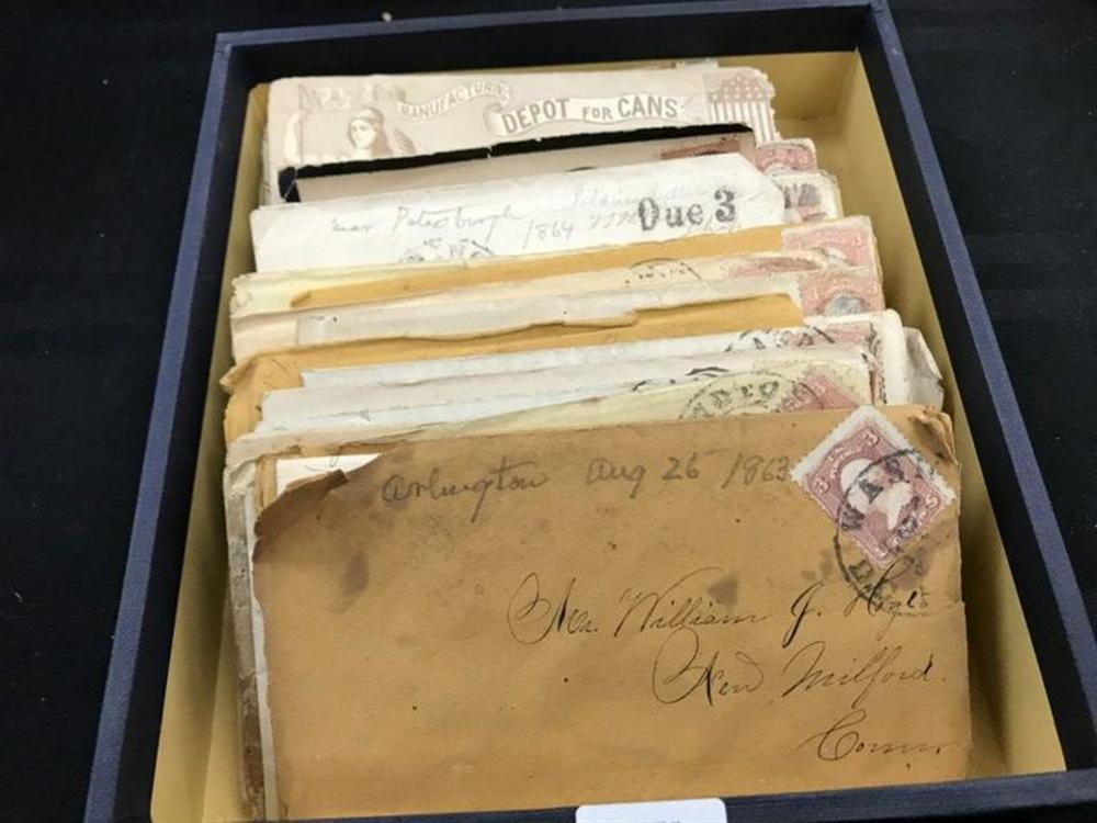 COLLECTION OF CIVIL WAR LETTERS AND ENVELOPES FROM HUDSON VALLEY ESTATE, 28 ENVELOPES WITH LETTERS, 5 LETTERS, & 10 ENVELOPES, HAVE TEARS, AS PICTURED