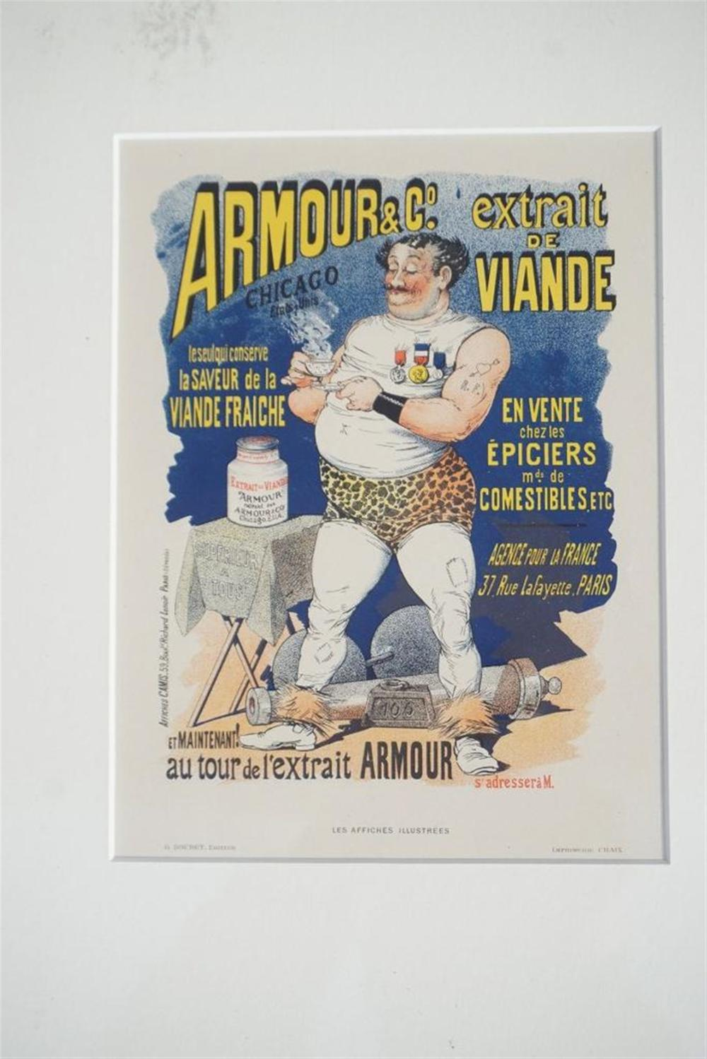 "1896 ARMOUR & CO. PARIS STONE LITHO POSTER, MEASURES 8 3/4"" X 12 1/4"", EXCELLENT CONDITION, SHRINK WRAPPED AND MATTED, FROM OLD TIME RETIRED DEALERS COLLECTION.  AFFICHES CAMIS?"