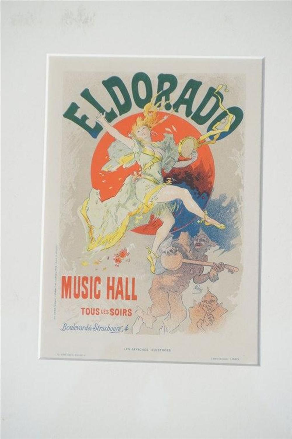 "1896 CHERET PARIS ELDORADO MUSIC HALL STONE LITHO POSTER, EXCELLENT CONDITION, MEASURES 8 3/4"" X 12 1/4"", FROM RETIRED DEALERS COLLECTION, SHRINK WRAPPED AND MATTED."