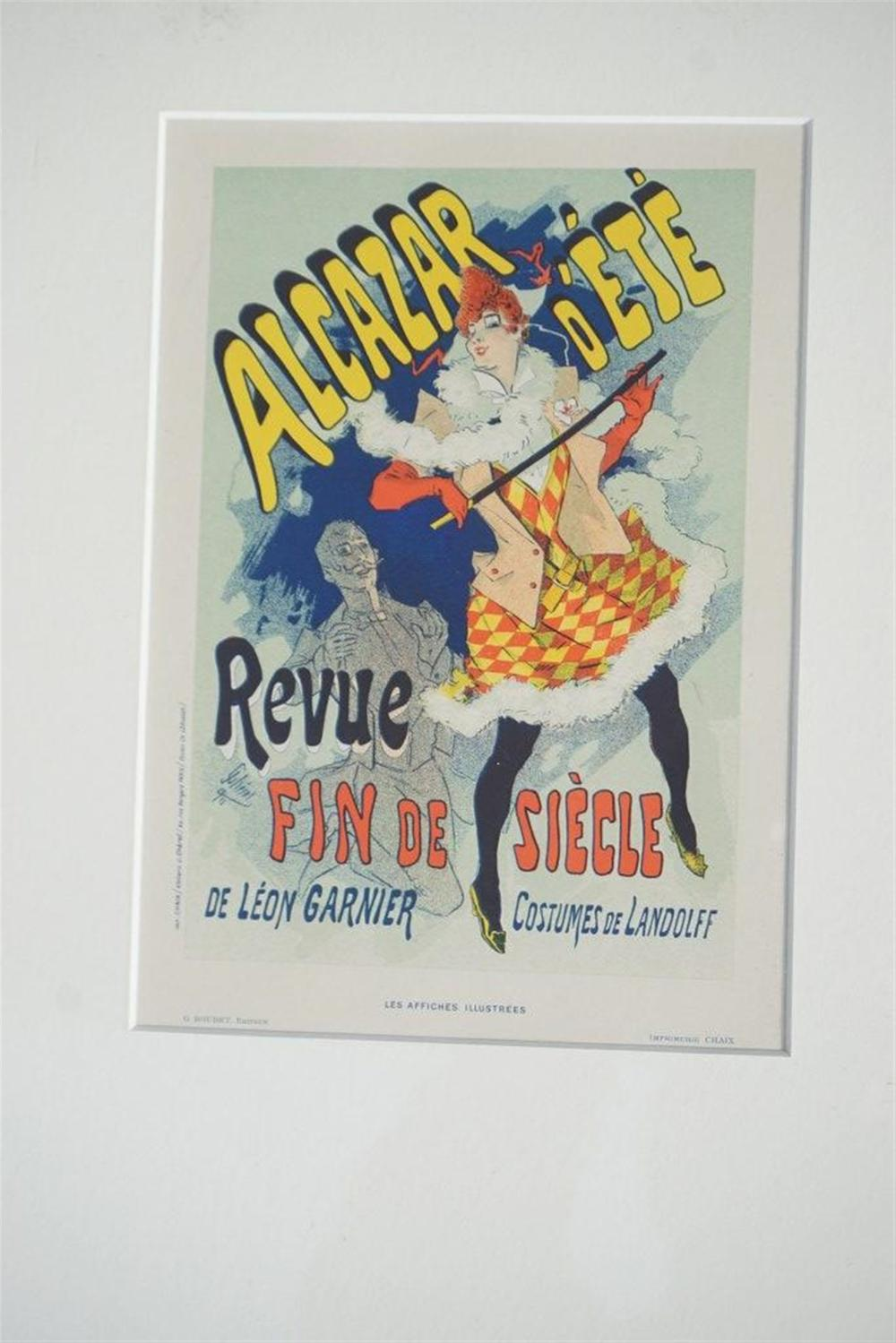 1896 CHERET PARIS FIN DE SIECLE STONE LITHO THEATRE POSTER, EXCELLENT CONDITION, SHRINK WRAPPED AND MATTED, FROM RETIRED DEALERS COLLECTION.