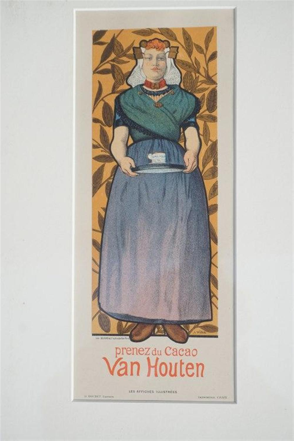 "1896 A WILLETTE VAN HOUTON STONE LITHO POSTER, PARIS, MEASURES 12"" X 5 1/2"" AS SHOWN, EXCELLENT CONDITION, SHRINK WRAPPED AND MATTED, FROM RETIRED DEALERS COLLECTION."