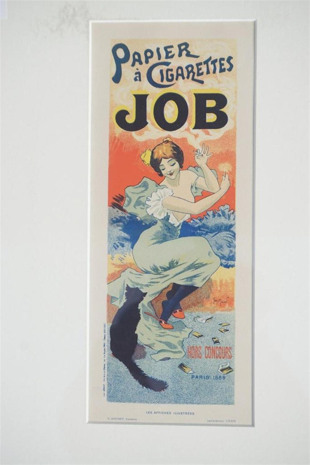 "1896 GEORGES MERIEN (?) JOB CIGARETTES, PARIS, 8 3/4"" X 12 1/4"", EXCELLENT CONDITION, SHRINK WRAPPED AND MATTED, FROM RETIRED DEALERS COLLECTION."