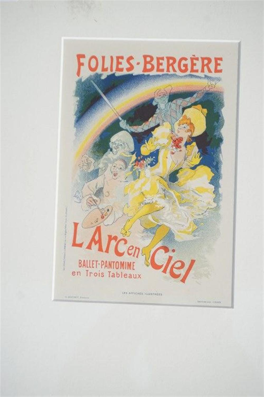 "1896 L ARC EN CIEL FRENCH LITHO POSTER, CHERET, SHEET SIZE 8 3/4"" X 12 1/4"", EXCELLENT CONDITION, SHRINK WRAPPED AND MATTED , FROM RETIRED DEALERS COLLECTION."