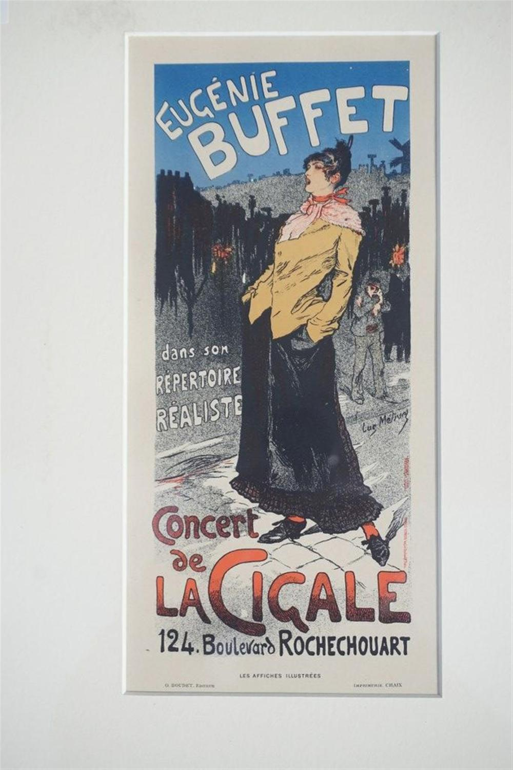 "1896 METIVET FRENCH STONE LITHO POSTER, EUGENIE BUFFET, SHEET SIZE 8 3/4"" X 12 1/4"", EXCELLENT CONDITION, SHRINK WRAPPED AND MATTED, FROM RETIRED DEALER."