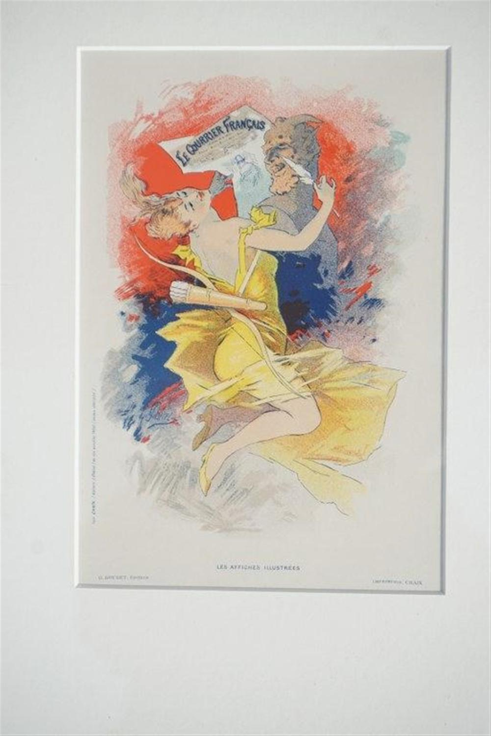 "1896 CHERET LE COURRIER FRANCAIS STONE LITHO POSTER, SHEET SIZE 8 3/4"" X 12 1/4"", EXCELLENT CONDITION, FROM RETIRED DEALERS COLLECTION, SHRINK WRAPPED AND MATTED. IMPRIMERIE CHAIX."