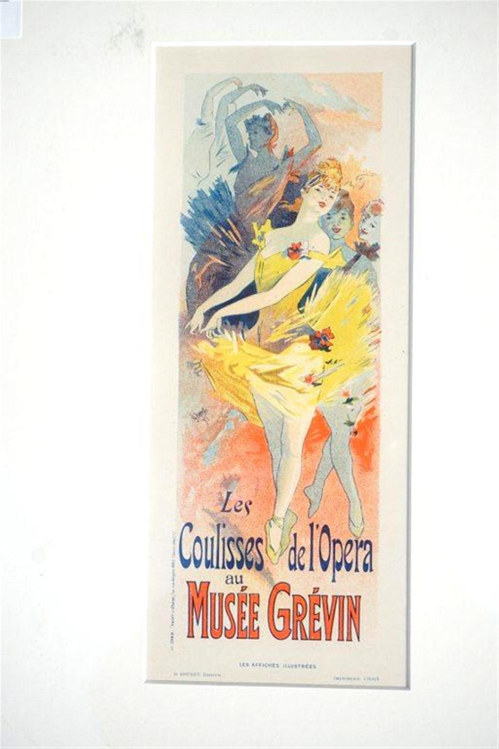 "1896 CHERET STONE LITHO POSTER LES COULISSES DE L'OPERA AU MUSEE GREVIN, SHEET SIZE 8 3/4"" X 12 1/4"", EXCELLENT CONDITION, SHRINK WRAPPED AND MATTED, FROM RETIRED DEALERS COLLECTION."