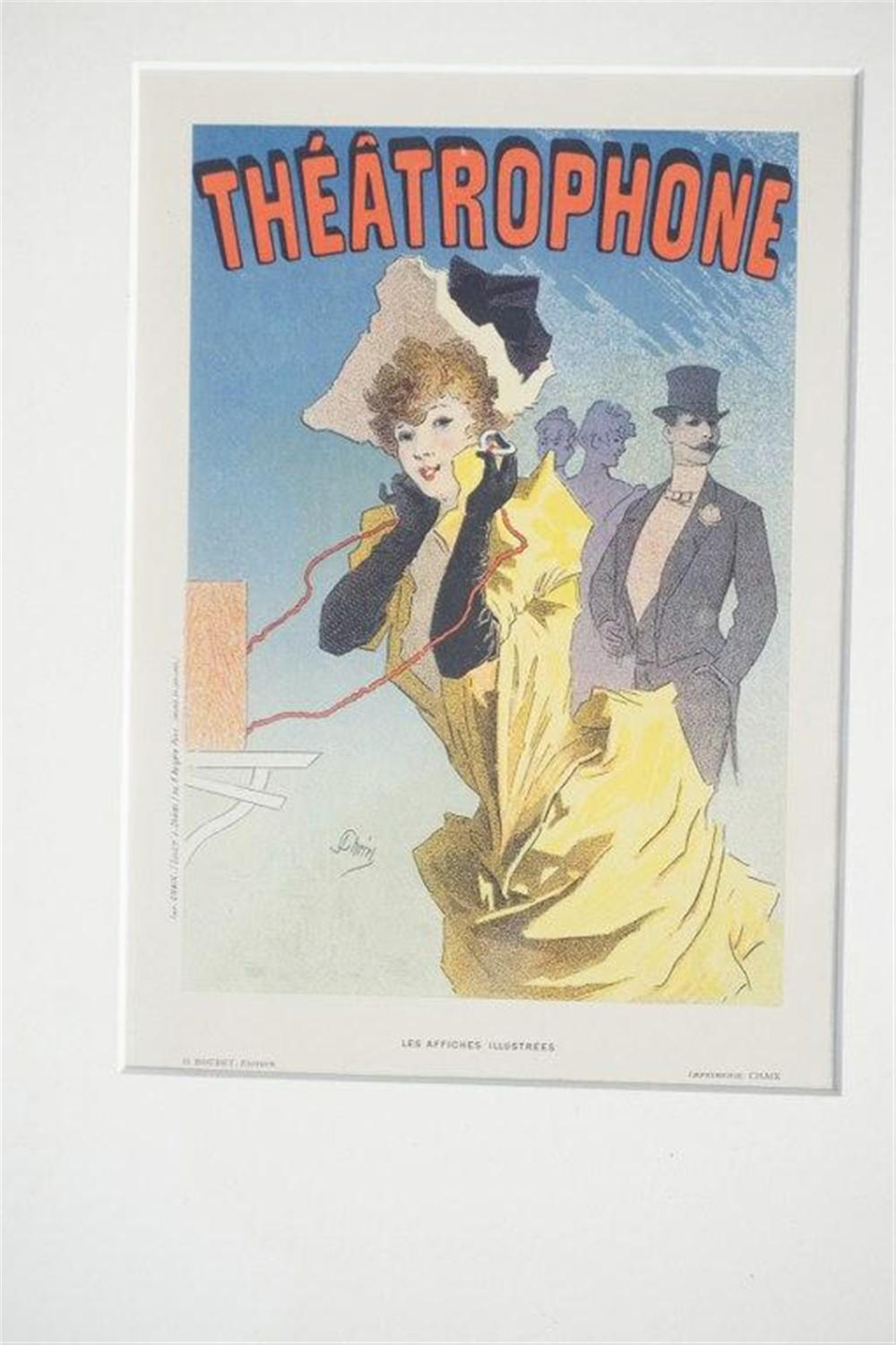 "1896 CHERET THEATEROPHONE STONE LITHO POSTER, PARIS, SHEET SIZE 8 3/4"" X 12 1/4"", EXCELLENT CONDITION, SHRINK WRAPPED AND MATTED, FROM RETIRED DEALER COLLECTION.  IMPRIMERIE CHAIX."
