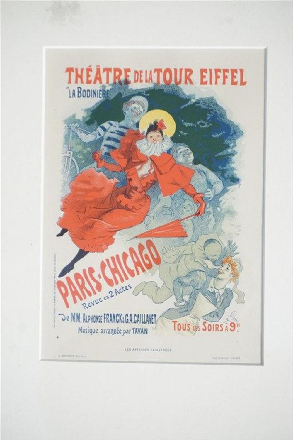 "1896 CHERET PARIS-CHICAGO THEATRE DE LA TOUR EIFFEL STONE LITHO POSTER, SHEET SIZE 8 3/4"" X 12 1/4"", EXCELLENT CONDITION, SHRINK WRAPPED AND MATTED, FROM RETIRED DEALERS COLLECTION."