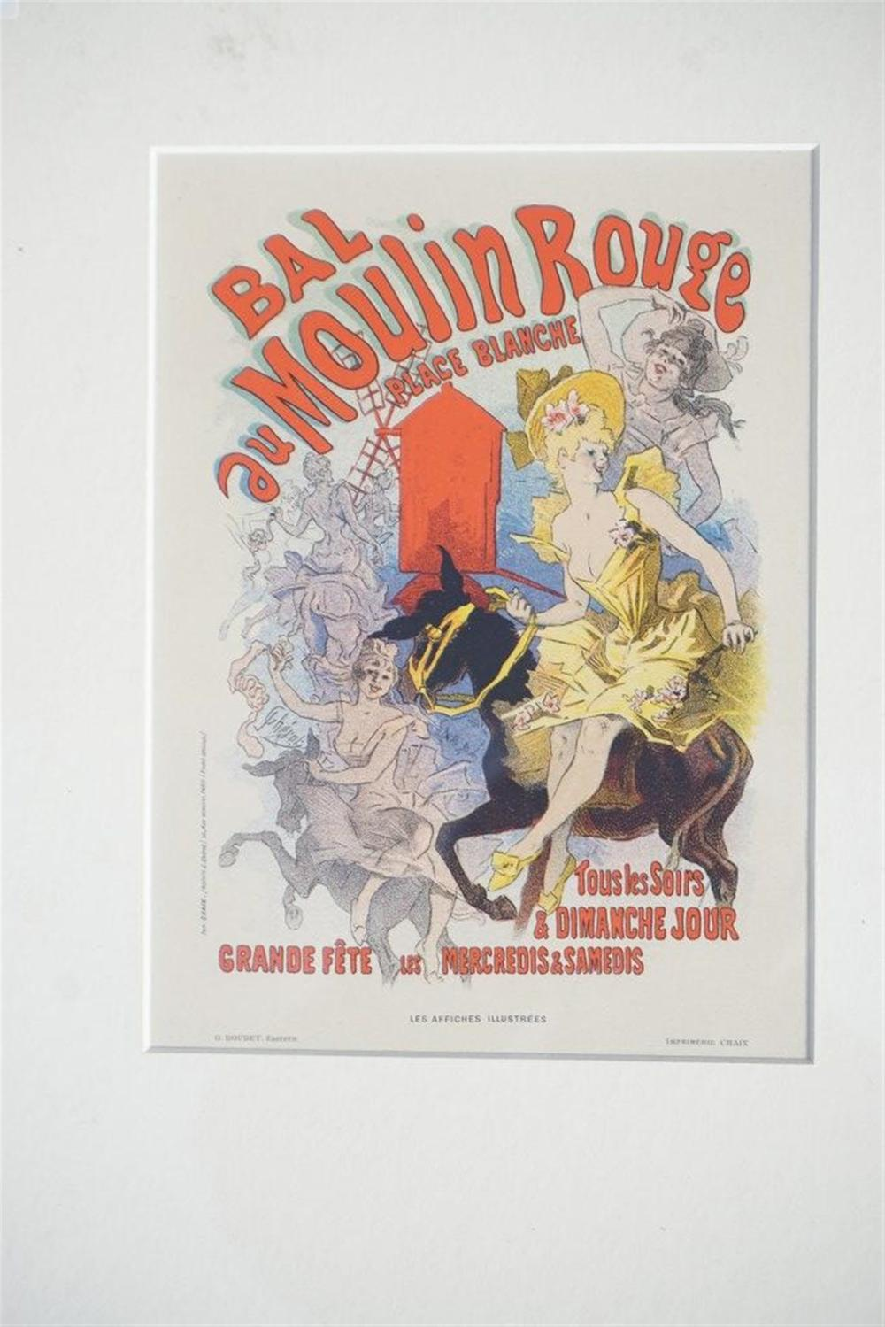 "1896 CHERET BAL AU MOULIN ROUGE STONE LITHO POSTER, SHEET SIZE 8 3/4"" X 12 1/4"", EXCELLENT CONDITION, SHRINK WRAPPED AND MATTED, FROM RETIRED COLLECTORS COLLECTION. IMPRIMERIE CHAIX."