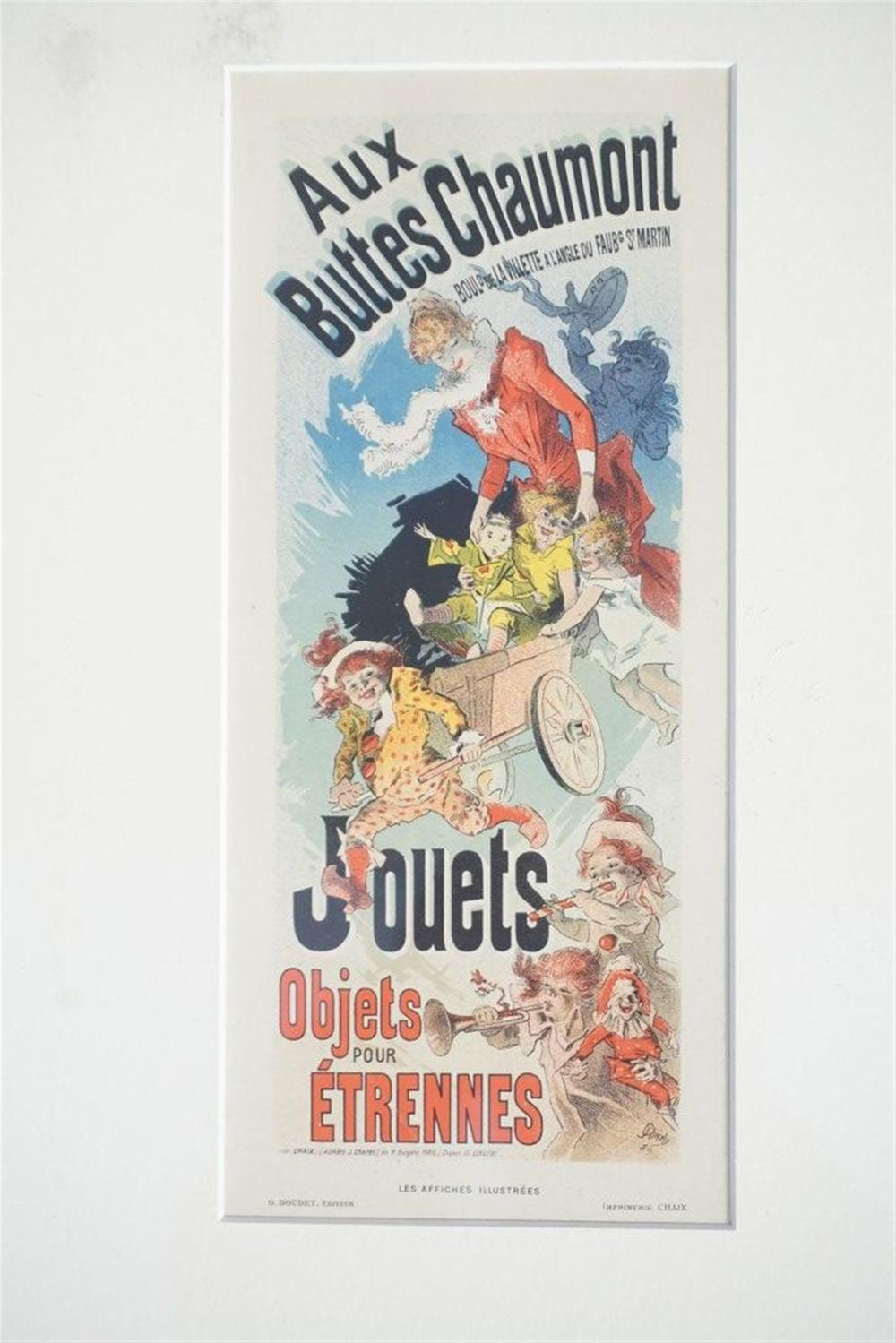 "1896 CHERET AUX BUTTES CHAUMONT JOUETS STONE LITHO POSTER, SHEET SIZE 8 3/4"" X 12 1/4"", EXCELLENT CONDITION, SHRINK WRAPPED AND MATTED, FROM RETIRED DEALERS COLLECTION."