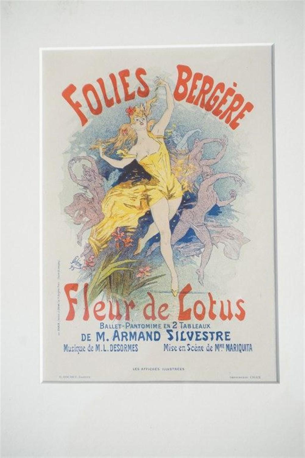 "1896 CHERET FOLIES BERGERE STONE LITHO POSTER, SHEET SIZE 8 3/4"" X 12 1/4"", EXCELLENT CONDITION, SHRINK WRAPPED AND MATTED, FROM RETIRED DEALERS COLLECTION. IMPRIMERIE CHAIX."